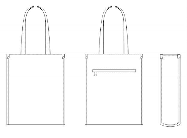 Molde liso do desenho técnico da forma da sacola