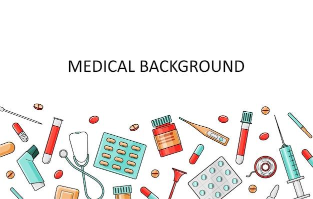 Molde médico com equipamento médico e medicamentos.