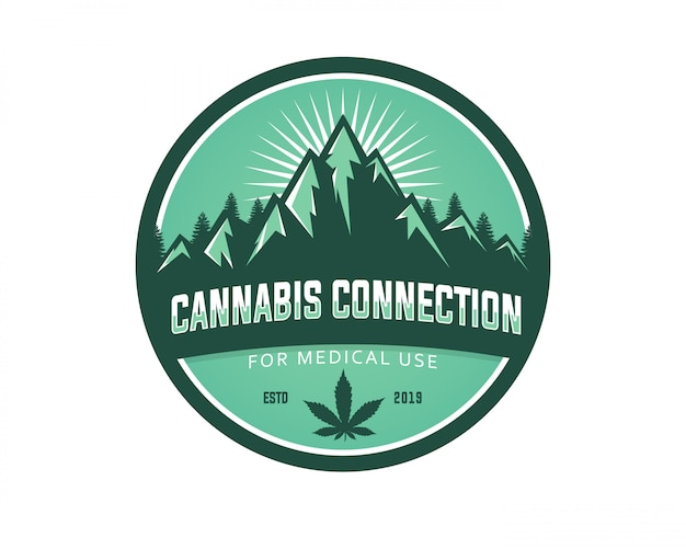 Molde médico do logotipo do vetor do uso da cannabis da montanha