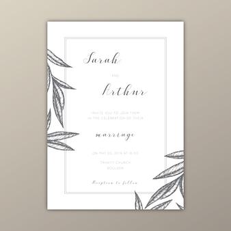 Molde minimalista do convite do casamento com ilustrações