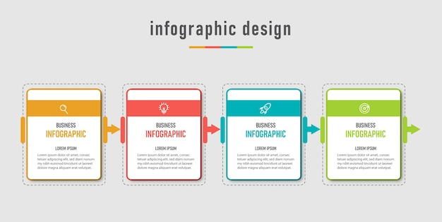 Molde moderno do negócio gráfico da informação e visualização dos dados com 4 opções
