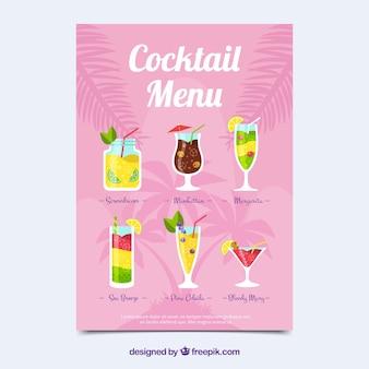 Molde plano de menu de cocktails