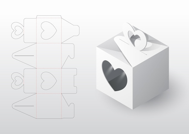 Molde realista de recorte de embalagem de caixa