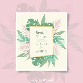 Molde tropical do cartão do chá de panela das folhas