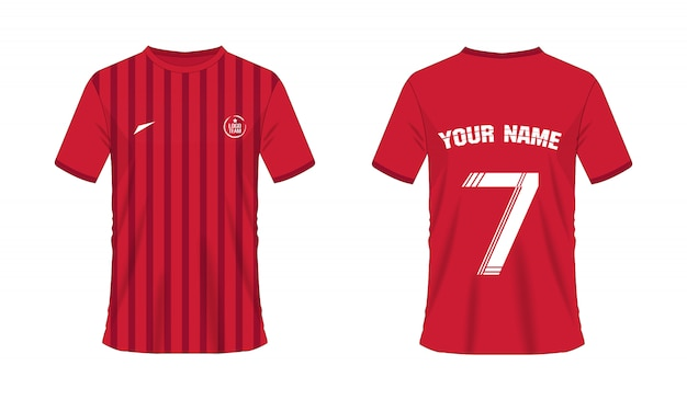Molde vermelho do futebol ou do futebol do t-shirt para o clube da equipe. esporte jersey
