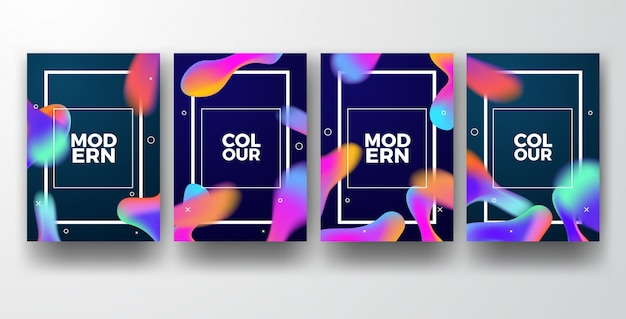 Moldes modernos coloridos do cartaz do inclinação