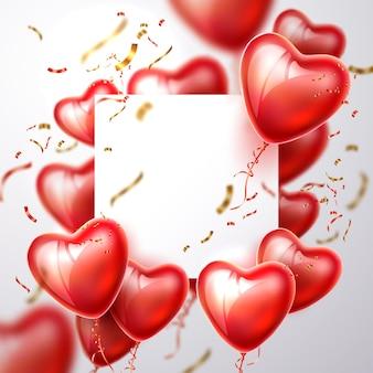 Moldura 3d do vetor coração balão confete realista