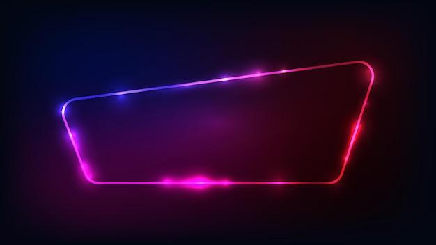 Moldura arredondada de néon com efeitos brilhantes em fundo escuro. pano de fundo vazio de techno brilhante. ilustração vetorial.