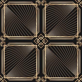 Moldura art déco com padrão geométrico