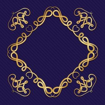 Moldura art déco dourada com ornamento em fundo azul