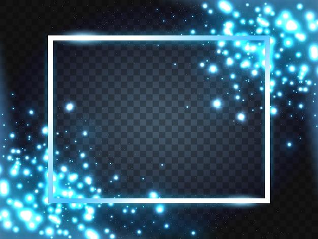 Moldura azul com efeitos de luzes