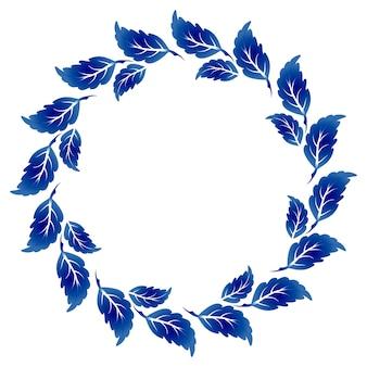 Moldura azul e branca com folhas
