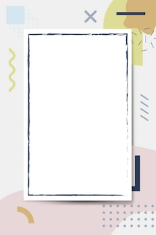 Moldura azul no fundo do padrão de design de memphis