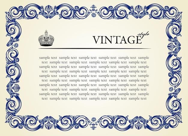 Moldura barroca de ornamento vintage