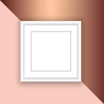 Moldura branca em branco sobre um fundo rosa de ouro