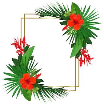 Moldura brilhante com flores tropicais vermelhas e folhas de palmeira