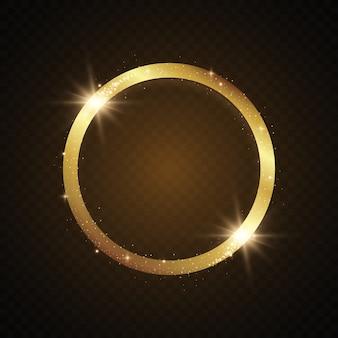 Moldura brilhante dourada redonda com rajadas de luz.