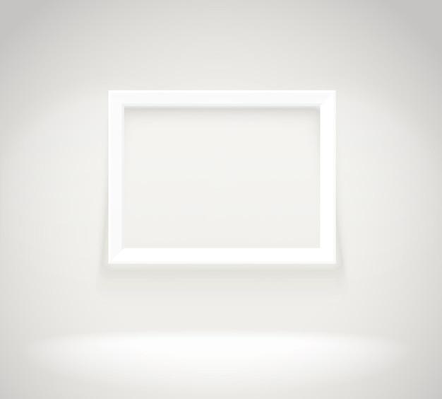 Moldura brilhante na parede. ilustração em vetor fotoreal