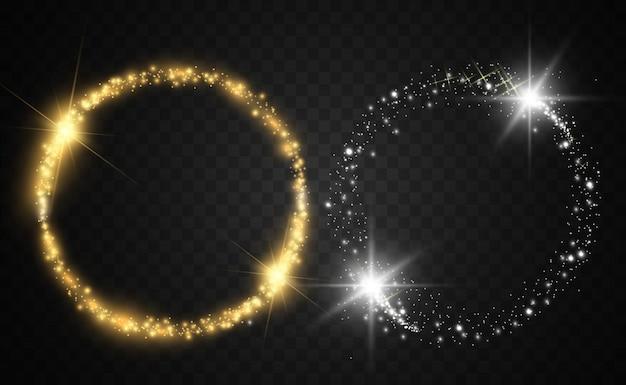 Moldura brilhante ouro redonda com rajadas de luz.