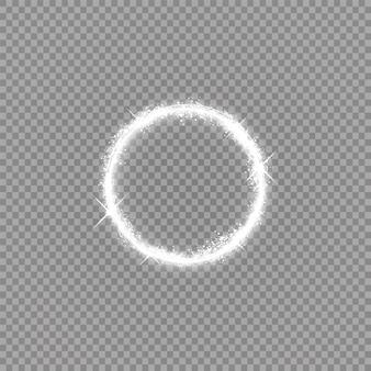 Moldura brilhante redonda com luzes.