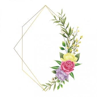 Moldura casamento convite flor estilo aquarela