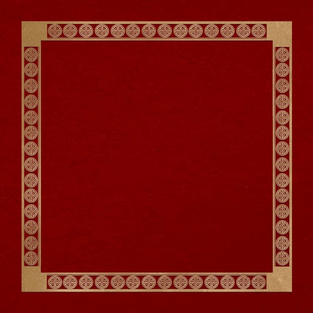 Moldura chinesa lu símbolo vetorial padrão quadrado dourado no tema do ano novo chinês
