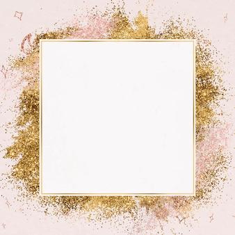 Moldura cintilante festiva com padrão de estrela dourada