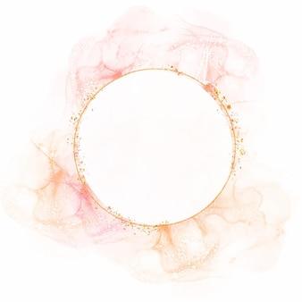 Moldura circular aquarela abstrata