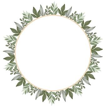 Moldura circular com borda de folha verde para cartão de casamento