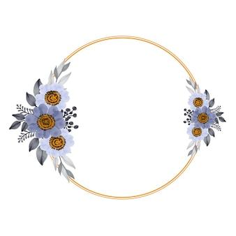 Moldura circular com buquê branco e roxo para cartão de casamento