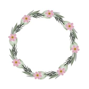 Moldura circular com flor rosa e borda de folha verde pálida coroa de flores