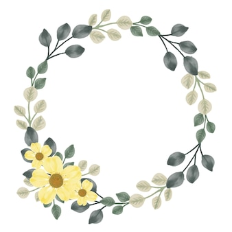 Moldura circular com folha e flor amarela