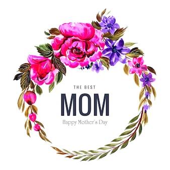 Moldura circular de decoração de flores design de cartão de dia das mães