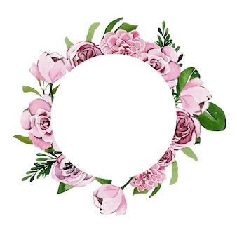 Moldura circular em aquarela de flores rosa primavera