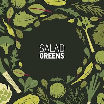 Moldura circular feita de plantas verdes, folhas de salada e ervas de especiarias