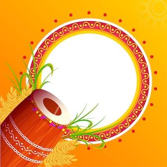 Moldura circular vazia com instrumento dhol, espiga de trigo, cana-de-açúcar em fundo laranja