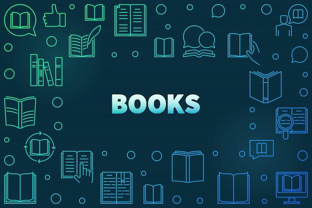 Moldura colorida de livros feita com ícones lineares de livro