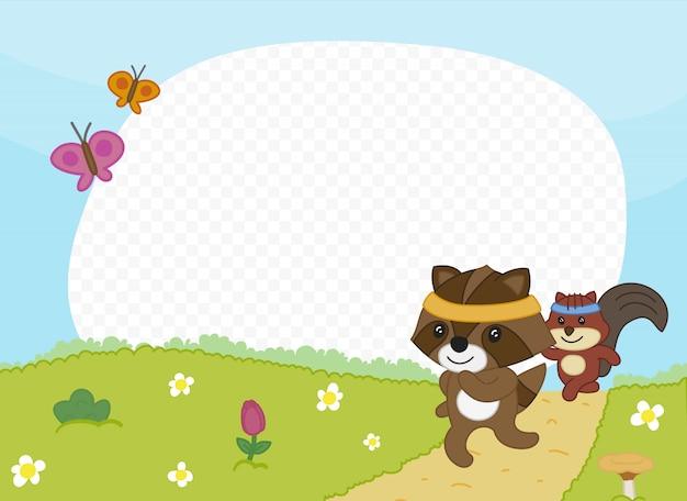 Moldura com amigos correndo ao ar livre