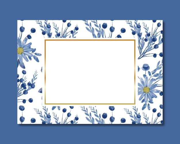 Moldura com aquarela floral azul sem costura padrão