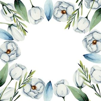 Moldura com bordas de flores de anêmona branca em aquarela
