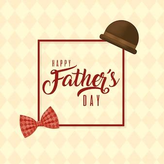 Moldura com chapéu e gravata borboleta do dia dos pais