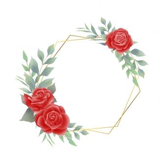 Moldura com decorações de rosas vermelhas e folhas em aquarela