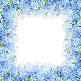 Moldura com flores azuis. ilustração.