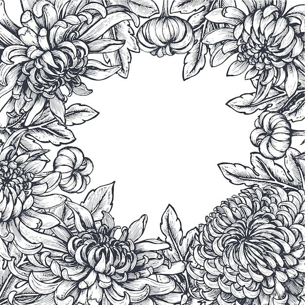 Moldura com flores de crisântemo
