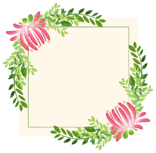 Moldura com flores e folhas