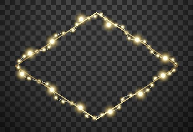 Moldura com luzes de natal em fundo transparente