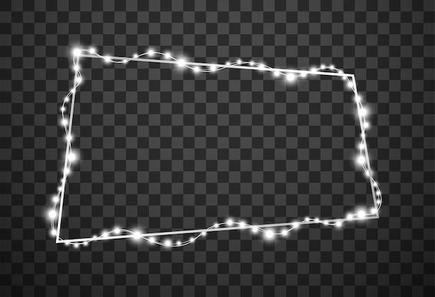 Moldura com luzes de natal isoladas em fundo transparente