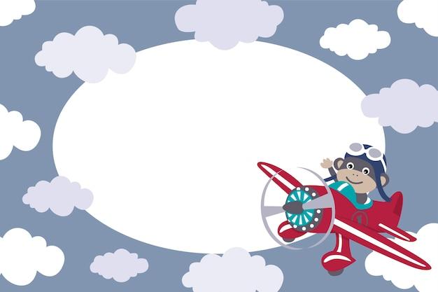 Moldura com macaco pilotar um avião
