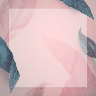 Moldura com modelo social de folhas azuladas