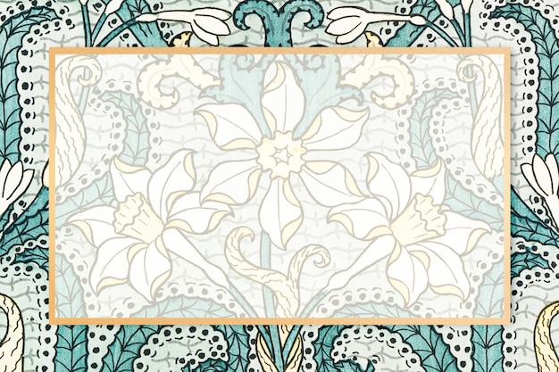 Moldura com padrão floral vintage